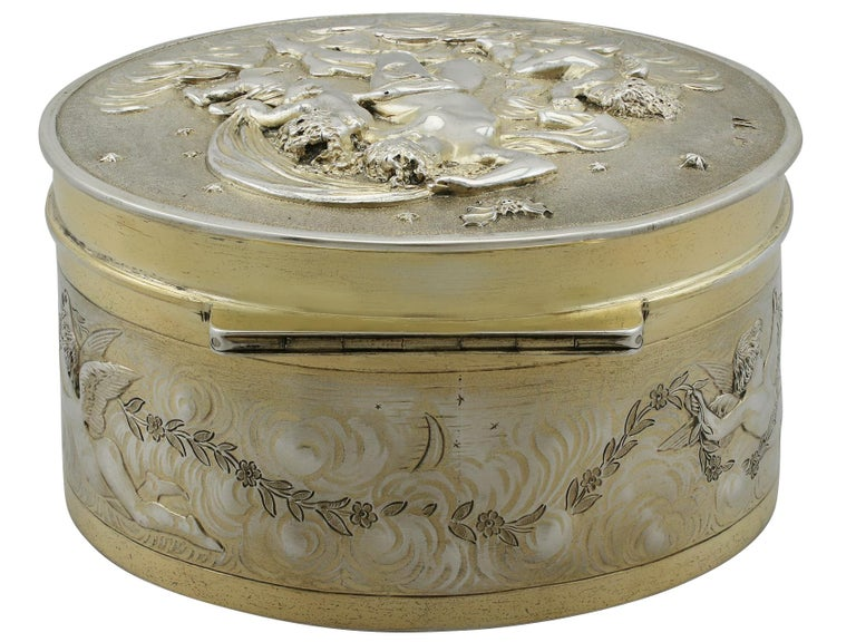 Late 19th Century Antique Victorian Sterling Silver and Gilt Box For Sale