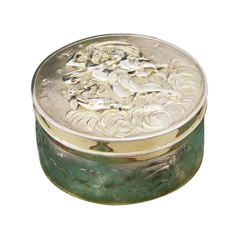 Antique Victorian Sterling Silver and Gilt Box For Sale