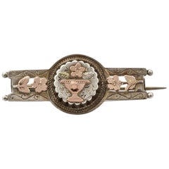 Antique Victorian Sterling Silver and Gold Vase and Flower Bar Brooch