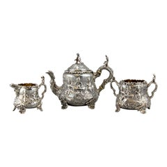 Antique Victorian Sterling Silver Bachelor Three-Piece Tea Set, London, 1886