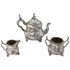 Antique Victorian Sterling Silver Bachelor Three-Piece Tea Set, London, 1886