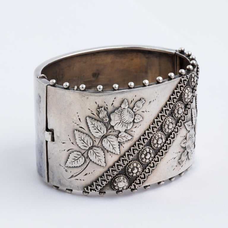 9ded1c7c49637 Antique Victorian Sterling Silver Bangle Cuff Bracelet