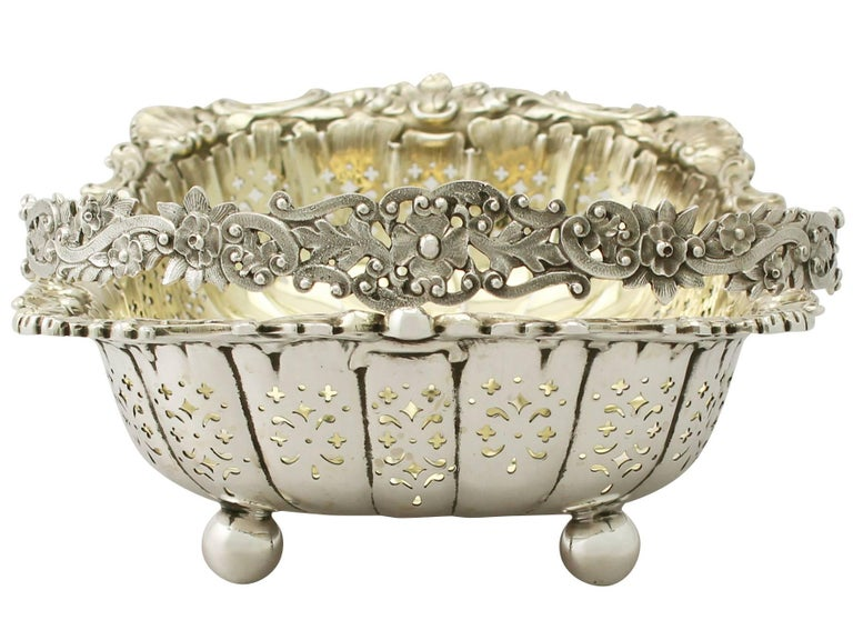 English Antique Victorian Sterling Silver Basket For Sale