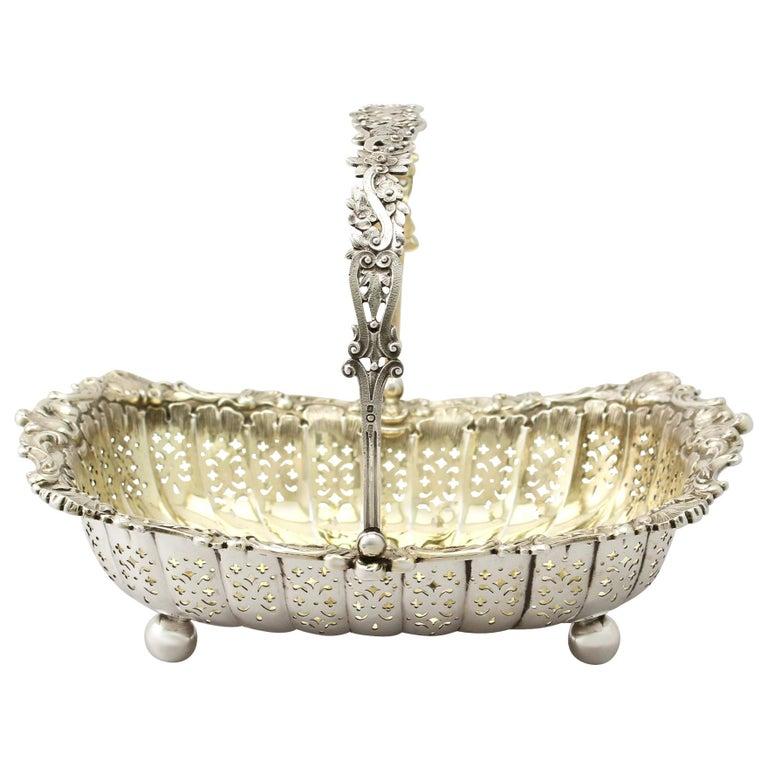 Antique Victorian Sterling Silver Basket For Sale