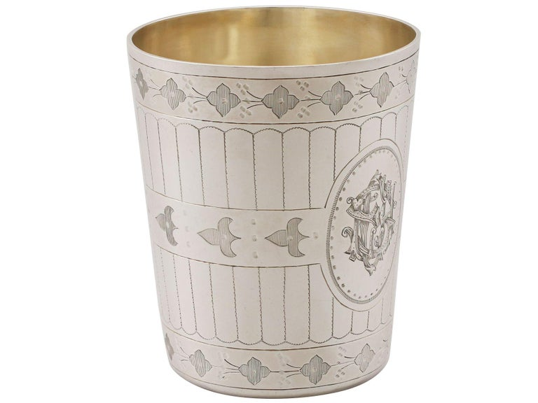 British Antique Victorian Sterling Silver Beaker For Sale