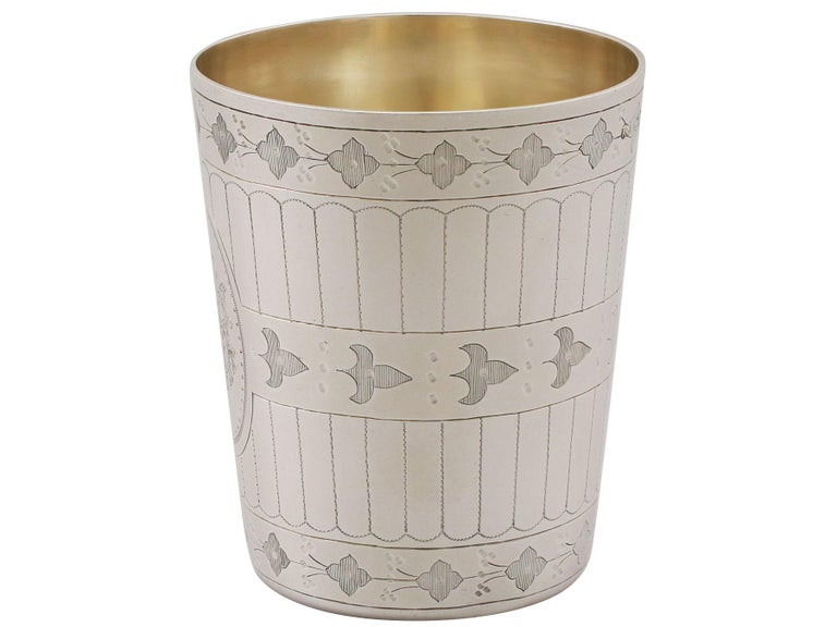 Mid-19th Century Antique Victorian Sterling Silver Beaker For Sale