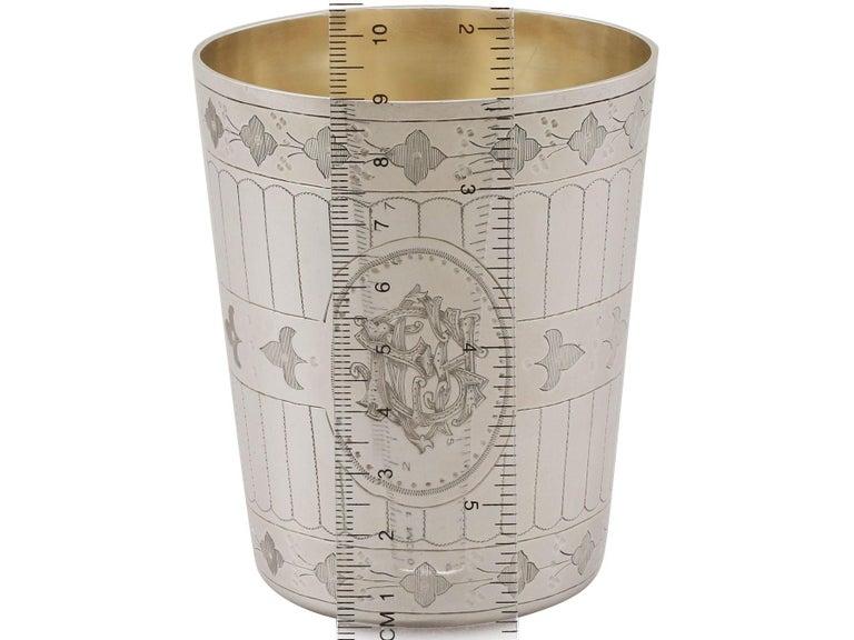 Antique Victorian Sterling Silver Beaker For Sale 4