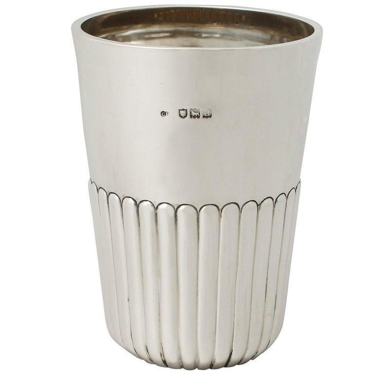 Antique Victorian Sterling Silver Beaker For Sale