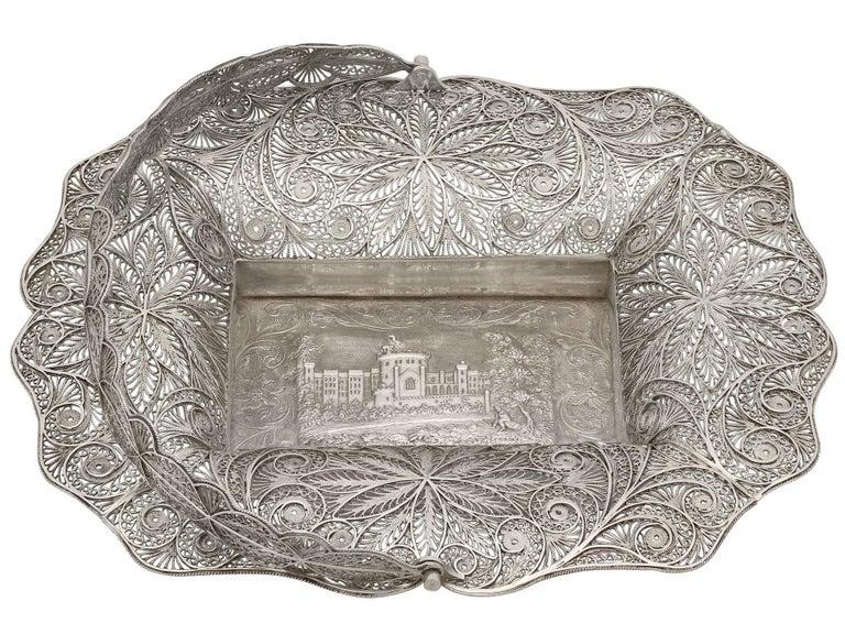 British Antique Victorian Sterling Silver Bon Bon Basket, 1842 For Sale