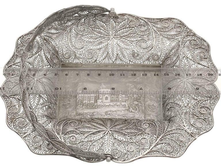 Antique Victorian Sterling Silver Bon Bon Basket, 1842 For Sale 4
