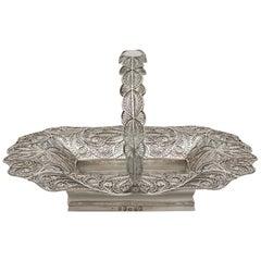 Antique Victorian Sterling Silver Bon Bon Basket, 1842