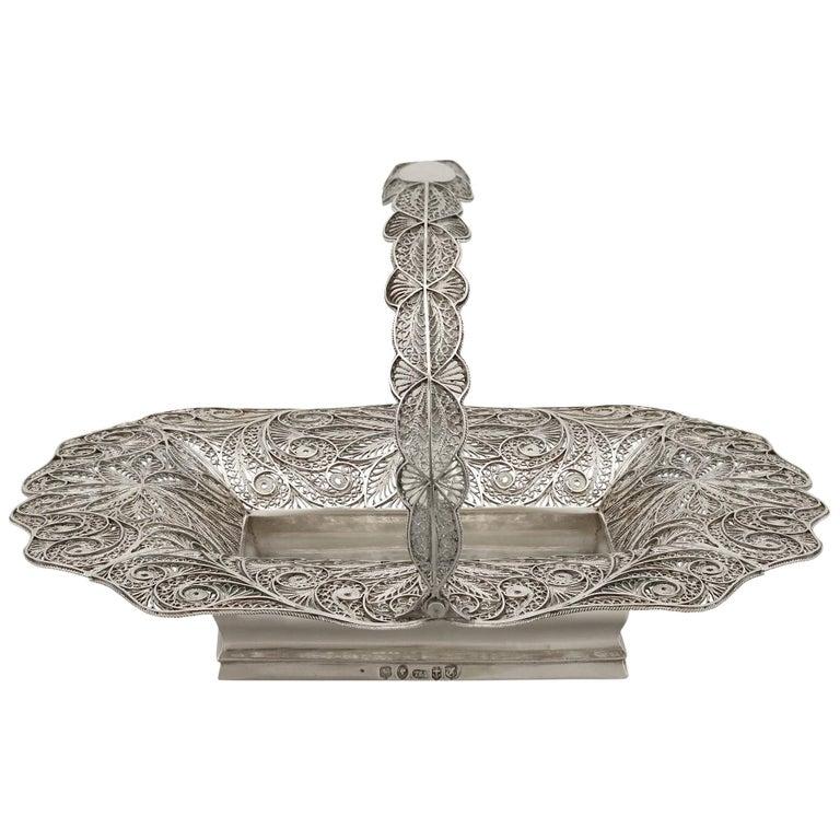Antique Victorian Sterling Silver Bon Bon Basket, 1842 For Sale