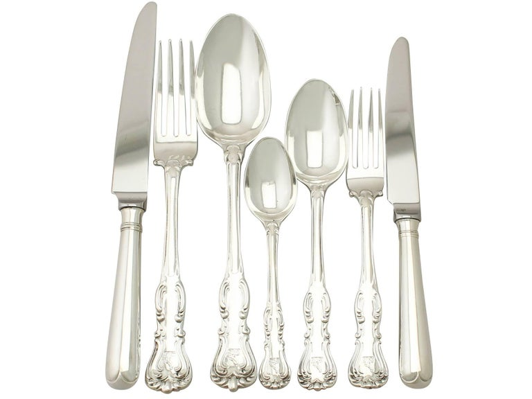 English Antique Victorian Sterling Silver Canteen of Cutlery for 12 Persons  For Sale