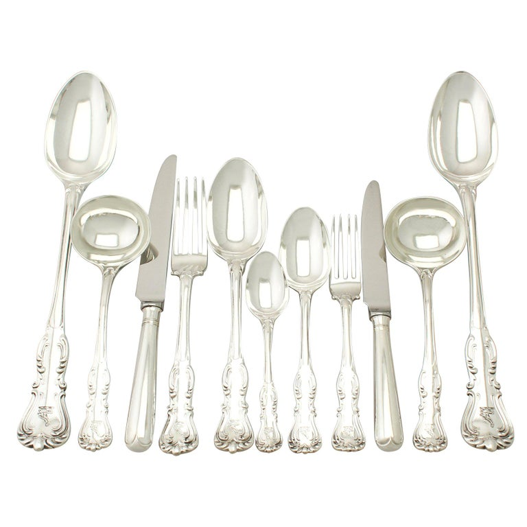 Antique Victorian Sterling Silver Canteen of Cutlery for 12 Persons  For Sale
