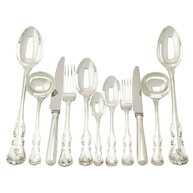 A magnificent, fine and impressive antique Victorian English sterling silver straight flatware service for 12 persons made by George Adams; an addition to our canteen of cutlery collection.  The pieces of this magnificent, antique Victorian