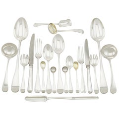 Antique Victorian Sterling Silver Canteen of Cutlery for Eight Persons
