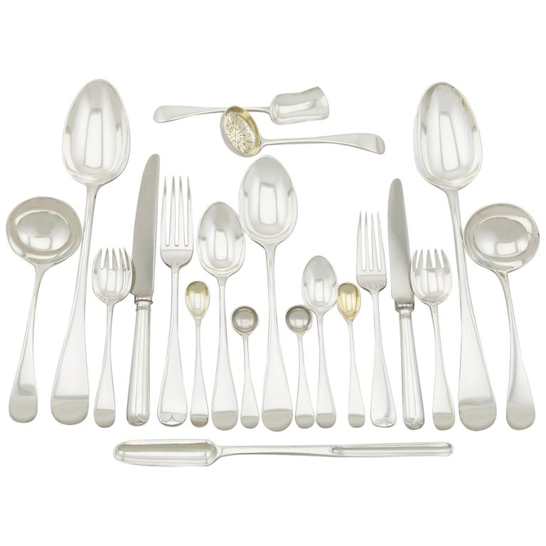 Antique Victorian Sterling Silver Canteen of Cutlery for Eight Persons For Sale