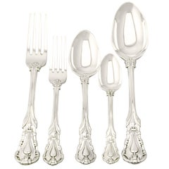 Antique Victorian Sterling Silver Canteen of Cutlery for Six Persons