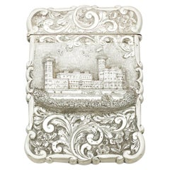 Antique Victorian Sterling Silver Castle Top Card Case