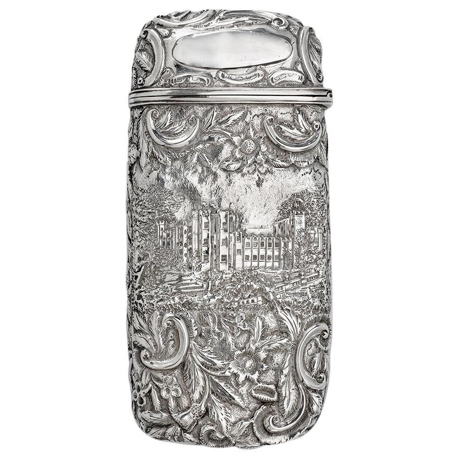 Antique Victorian Sterling Silver Castle-Top Cigar Case, Nathaniel Mills 1839