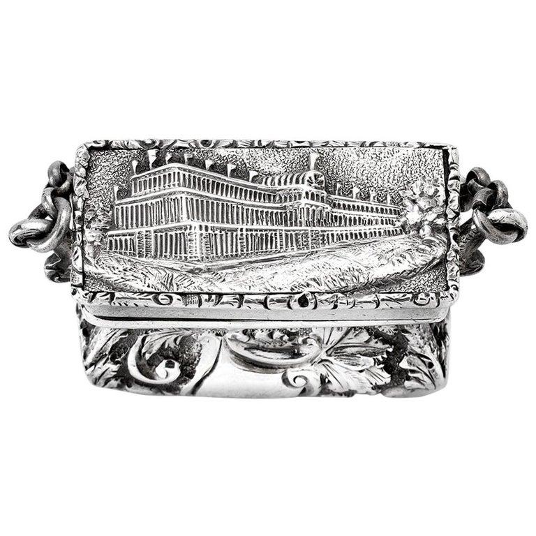 Antique Victorian Sterling Silver Castle-Top Vinaigrette Crystal Palace For Sale