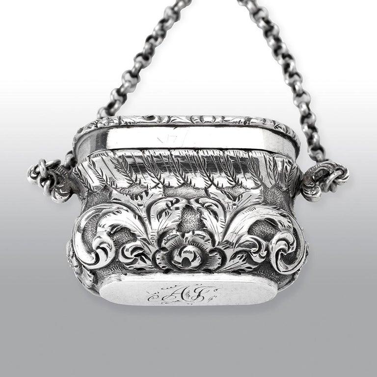 Mid-19th Century Antique Victorian Sterling Silver Castle-Top Vinaigrette Windsor Castle For Sale
