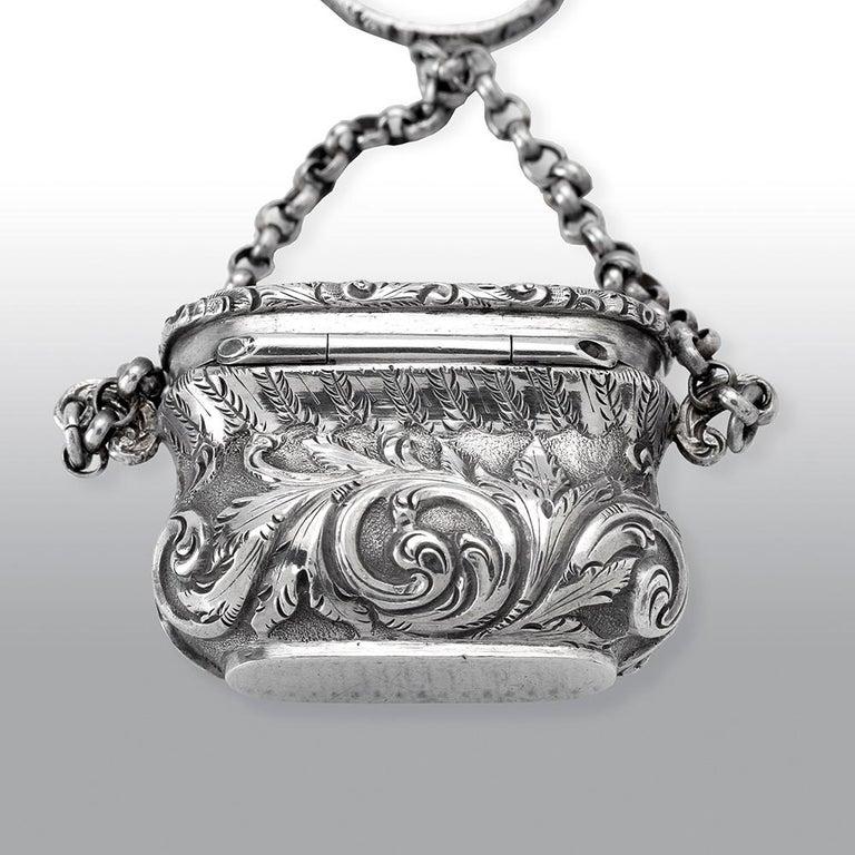 Antique Victorian Sterling Silver Castle-Top Vinaigrette Windsor Castle For Sale 2