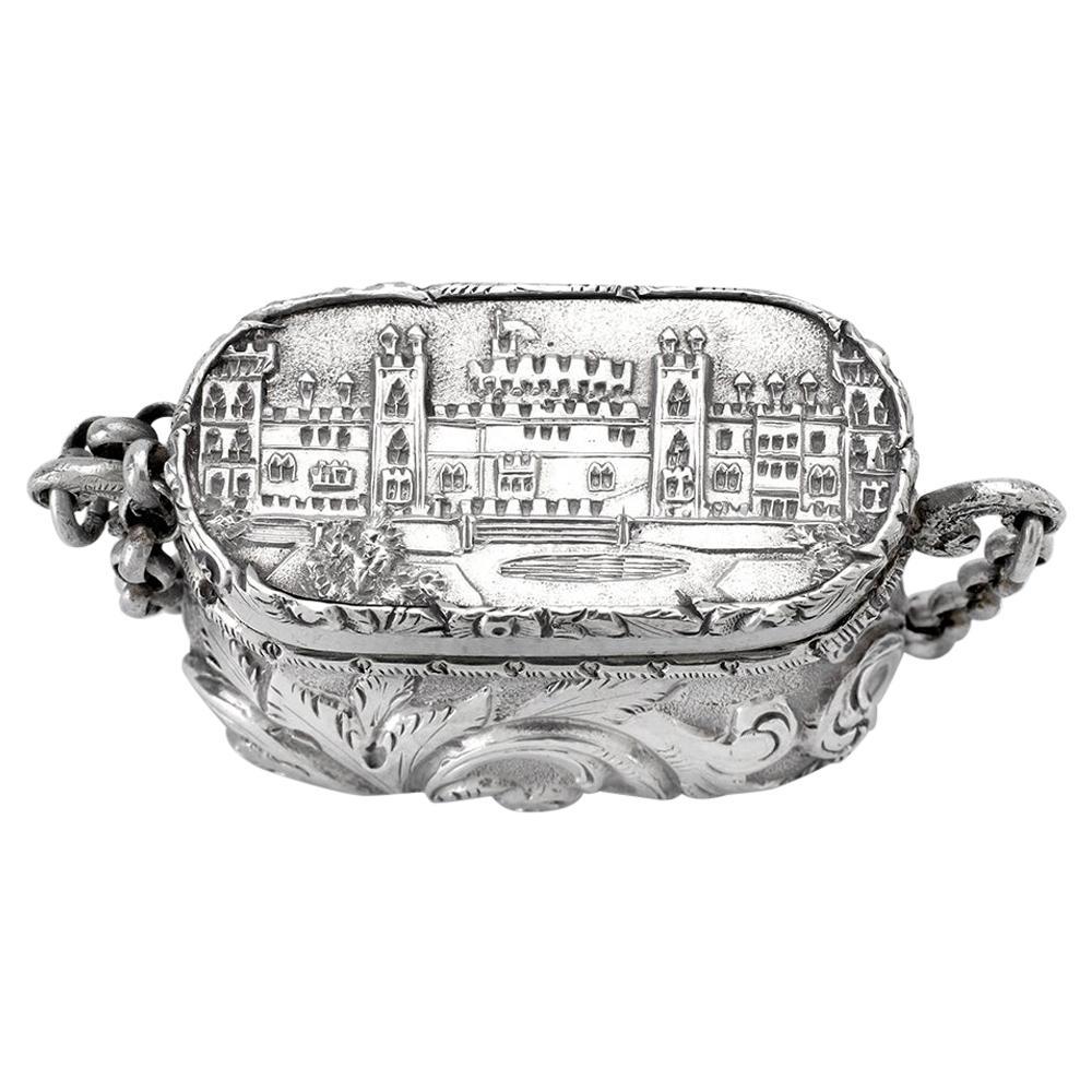 Antique Victorian Sterling Silver Castle-Top Vinaigrette Windsor Castle