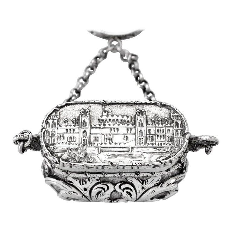Antique Victorian Sterling Silver Castle-Top Vinaigrette Windsor Castle For Sale