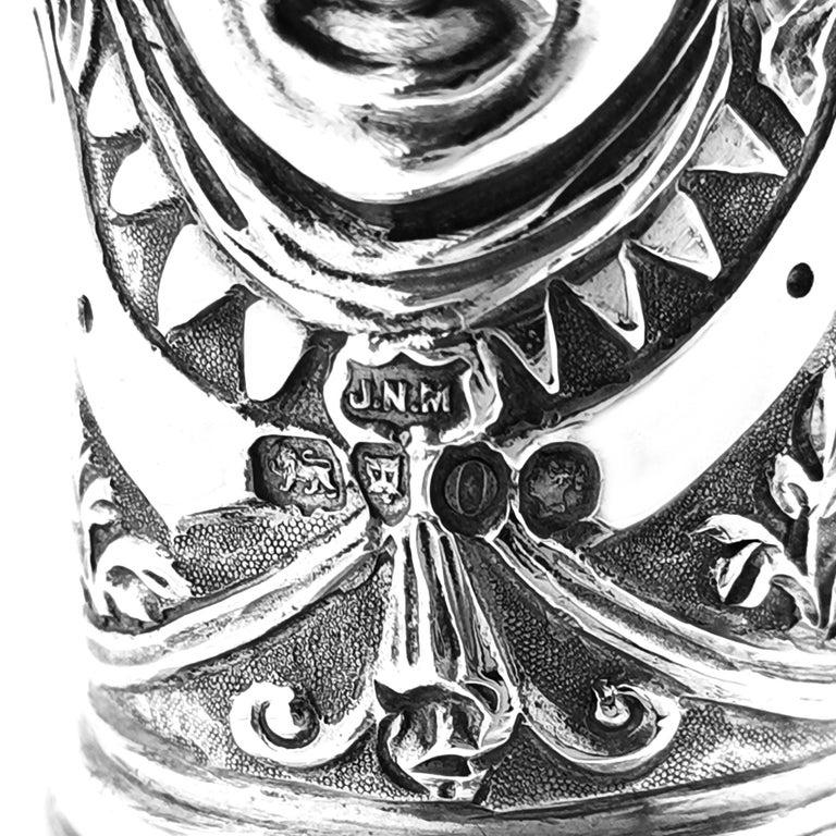 Antique Victorian Sterling Silver Cellini Jug Claret Jug Wine Pitcher 1889 For Sale 5