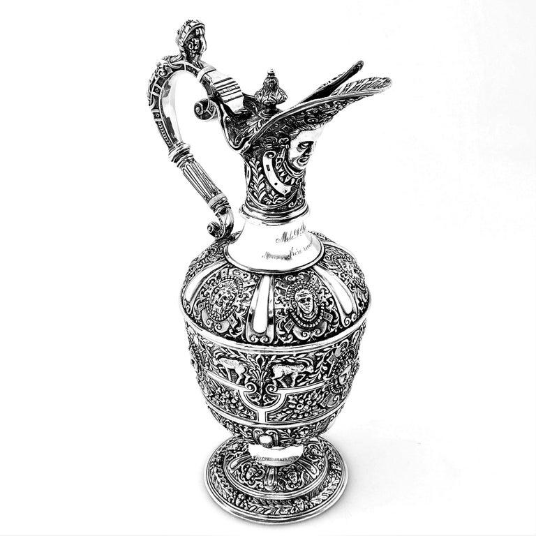 English Antique Victorian Sterling Silver Cellini Jug Claret Jug Wine Pitcher 1889 For Sale