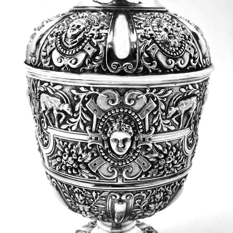 19th Century Antique Victorian Sterling Silver Cellini Jug Claret Jug Wine Pitcher 1889 For Sale