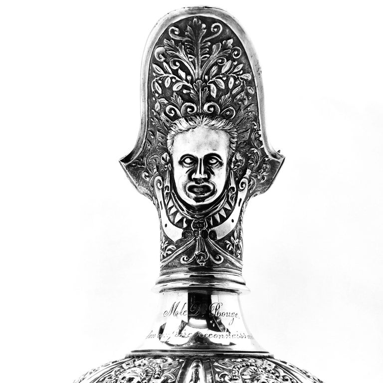 Antique Victorian Sterling Silver Cellini Jug Claret Jug Wine Pitcher 1889 For Sale 1