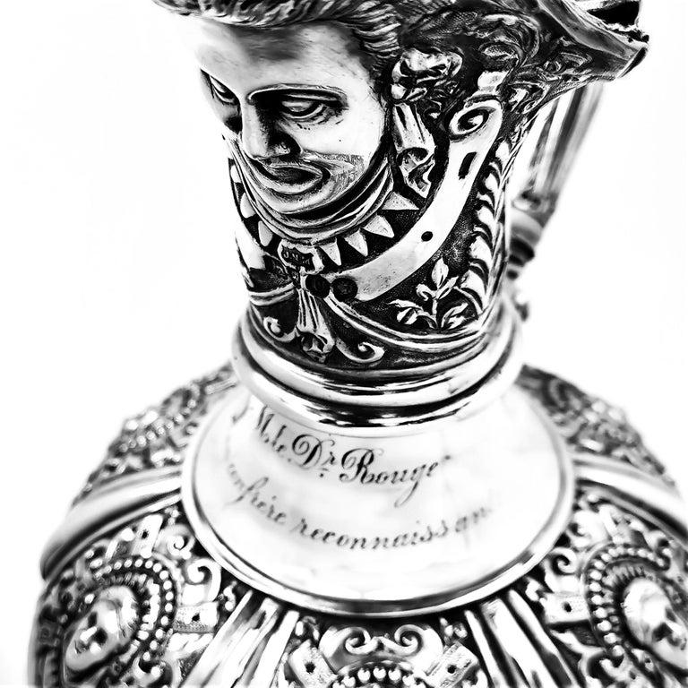 Antique Victorian Sterling Silver Cellini Jug Claret Jug Wine Pitcher 1889 For Sale 2