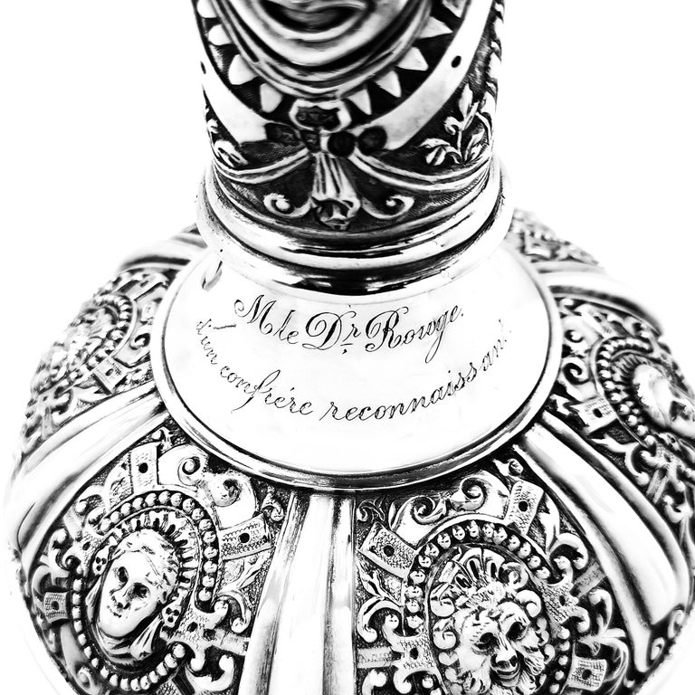 Antique Victorian Sterling Silver Cellini Jug Claret Jug Wine Pitcher 1889 For Sale 3