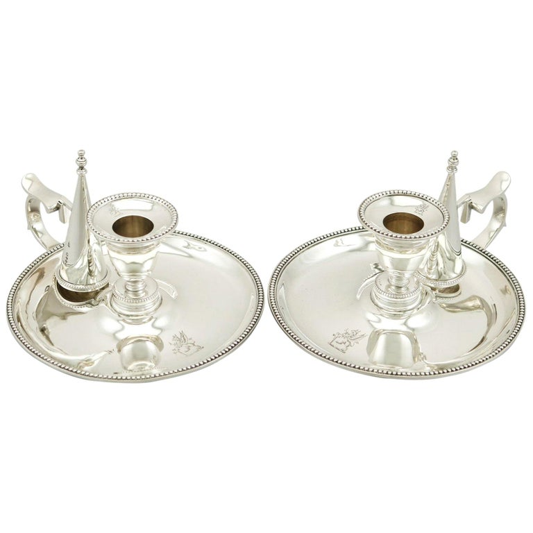 Antique Victorian Sterling Silver Chambersticks, 1863 For Sale