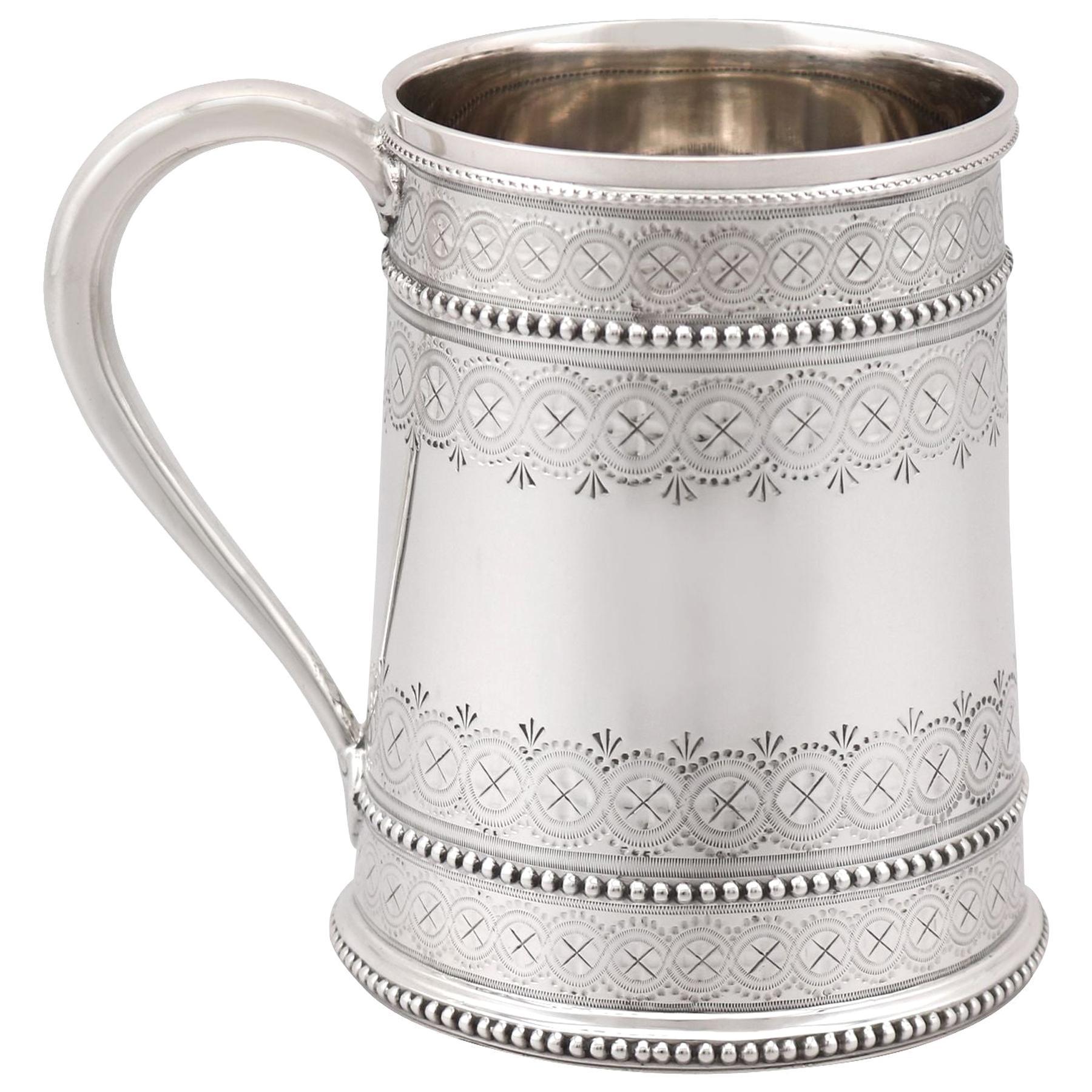 Antique Victorian Sterling Silver Christening Mug, 1881