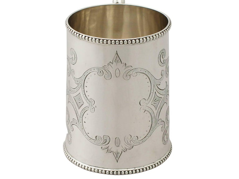 English Antique Victorian Sterling Silver Christening Mug For Sale