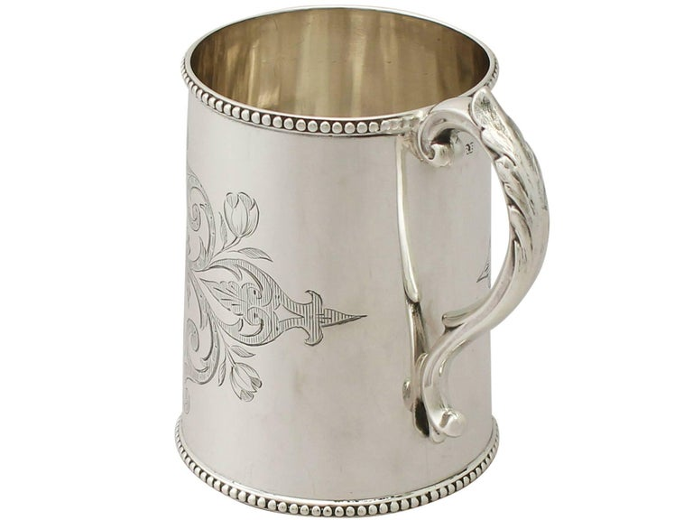 Antique Victorian Sterling Silver Christening Mug In Excellent Condition For Sale In Jesmond, Newcastle Upon Tyne
