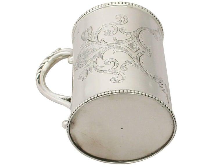 Antique Victorian Sterling Silver Christening Mug For Sale 3