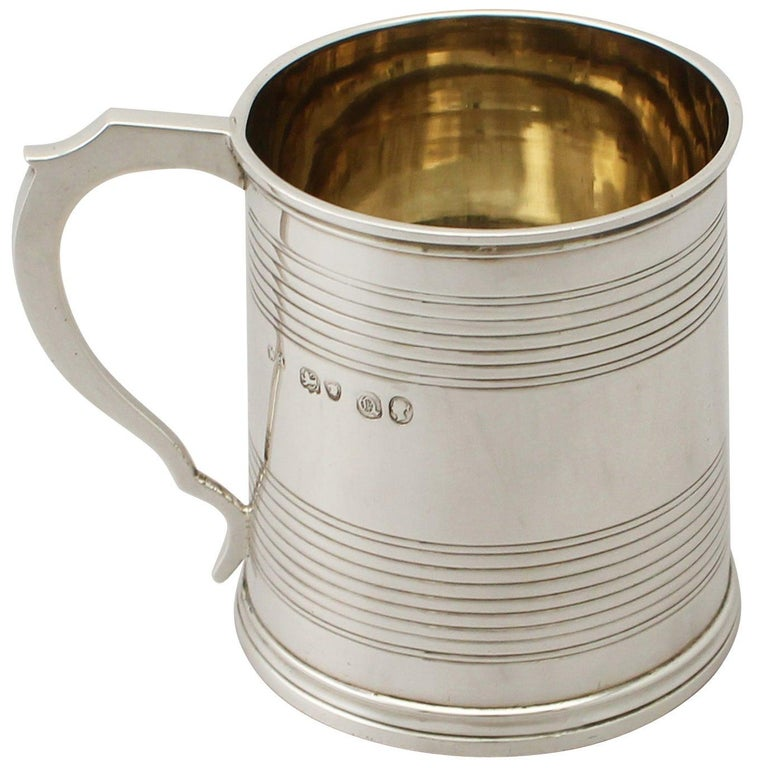 Antique Victorian Sterling Silver Christening Mug For Sale