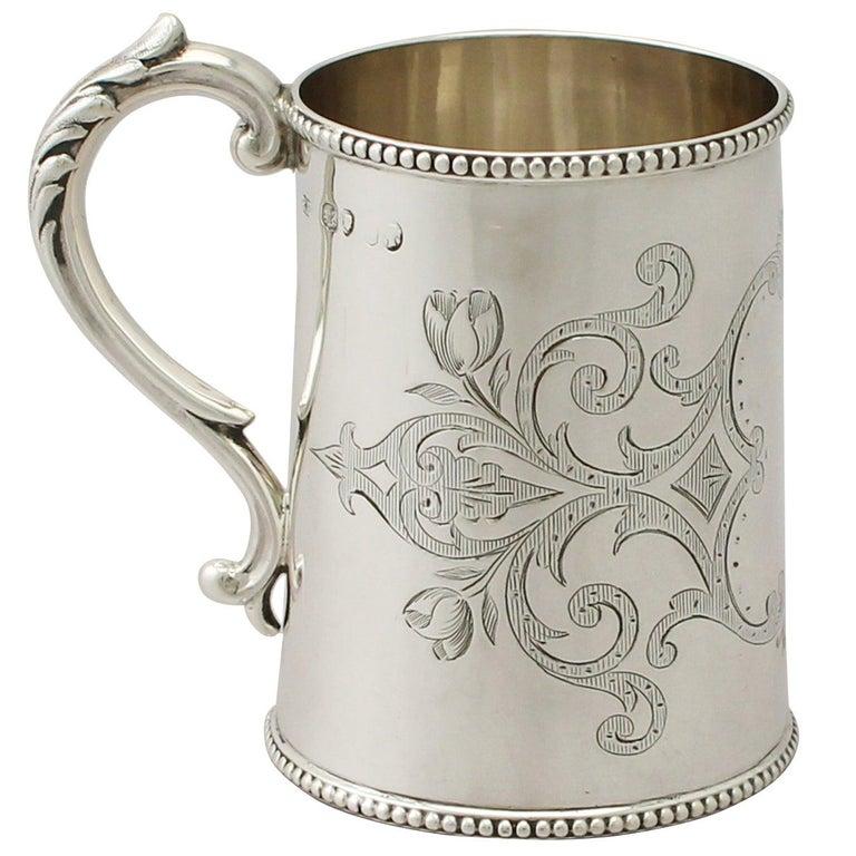 Antique Victorian Sterling Silver Christening Mug For Sale