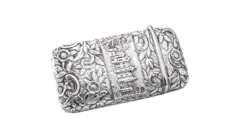 Mid-19th Century Antique Victorian Sterling Silver Cigar Case For Sale