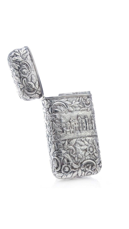 British Antique Victorian Sterling Silver Cigar Case For Sale