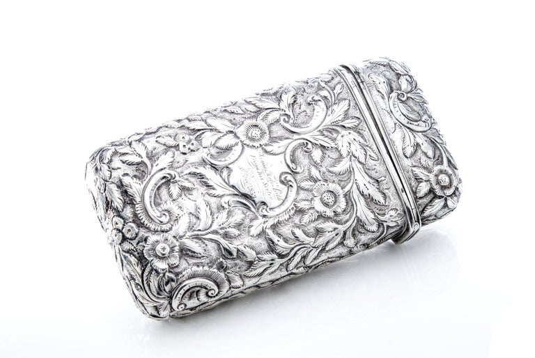 Antique Victorian Sterling Silver Cigar Case In Good Condition For Sale In Braintree, GB