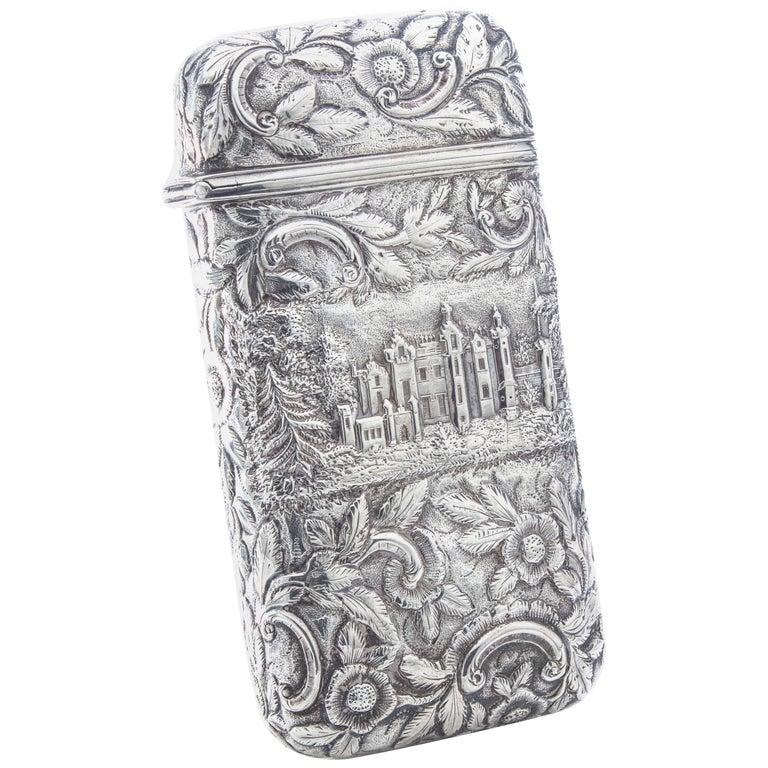 Antique Victorian Sterling Silver Cigar Case For Sale