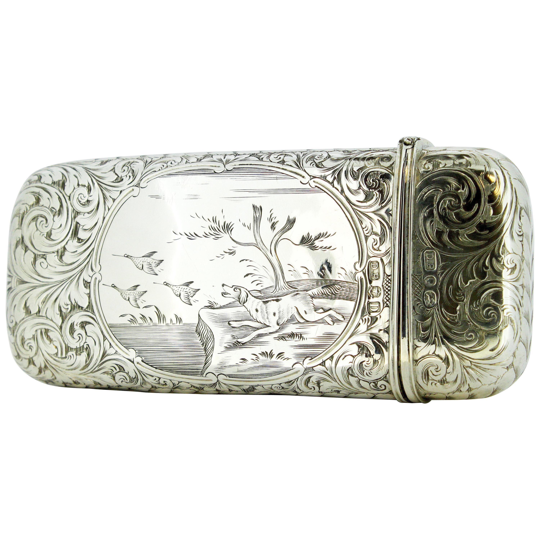 Antique Victorian Sterling Silver Cigarette Box, Birmingham 1852, David Pettifer