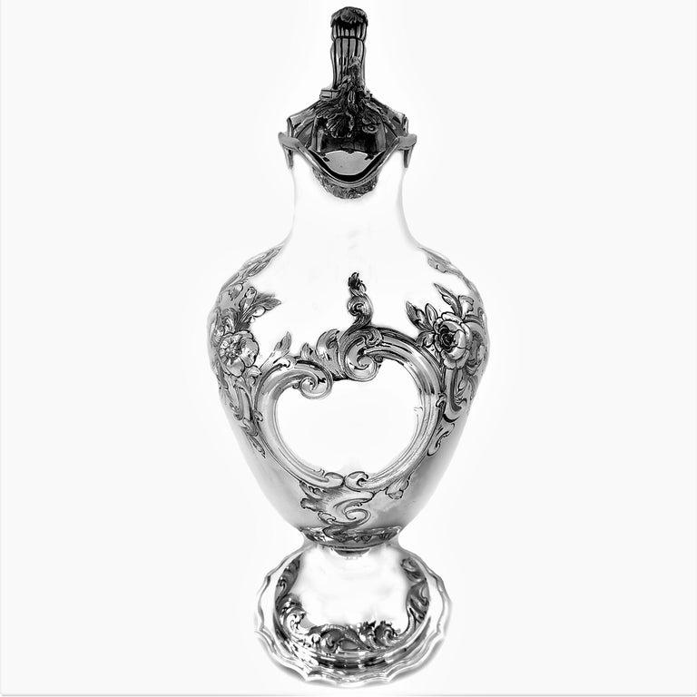 English Antique Victorian Sterling Silver Claret Jug / Ewer / Pitcher 1869 Wine / Water