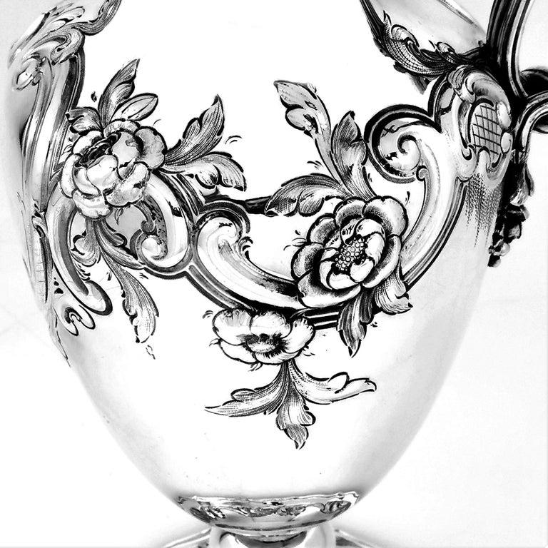 19th Century Antique Victorian Sterling Silver Claret Jug / Ewer / Pitcher 1869 Wine / Water