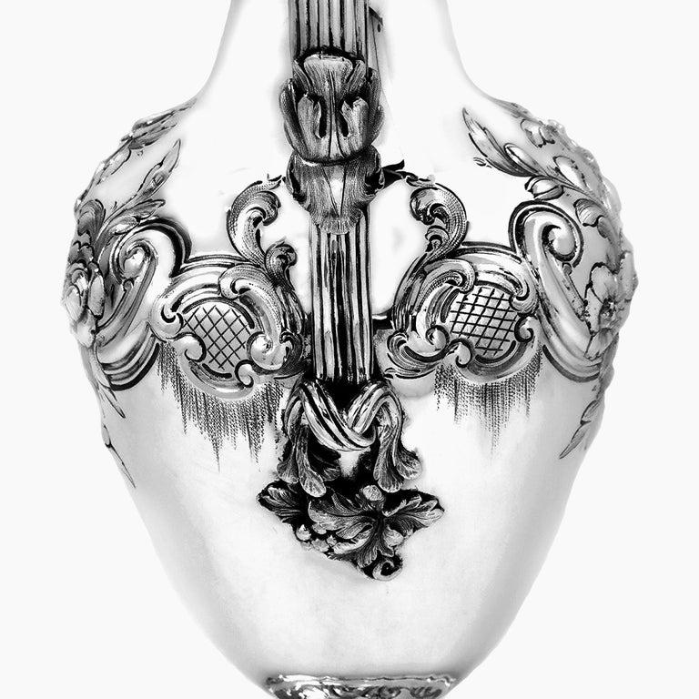 Antique Victorian Sterling Silver Claret Jug / Ewer / Pitcher 1869 Wine / Water 1